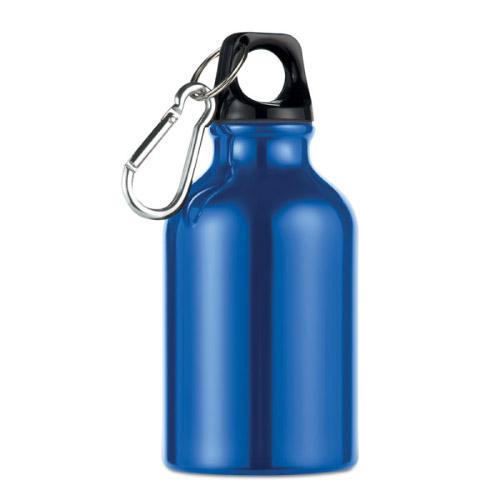 Gourde sport personnalisable en aluminium avec mousqueton 300ml bleue