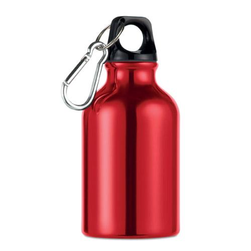Gourde sport personnalisable en aluminium avec mousqueton 300ml rouge