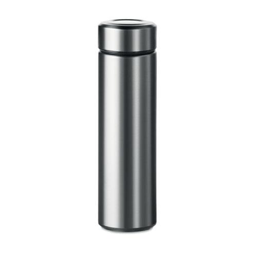 Gourde inox personnalisable gris avec infuseur