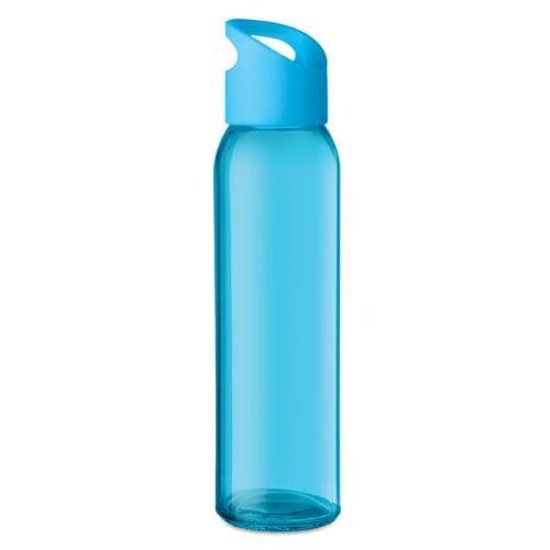 bouteille d'eau personnalisée en verre 470ml bleue clair
