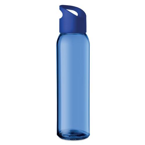 bouteille d'eau personnalisée en verre 470ml bleue foncé