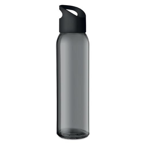 bouteille d'eau personnalisée en verre 470ml noire