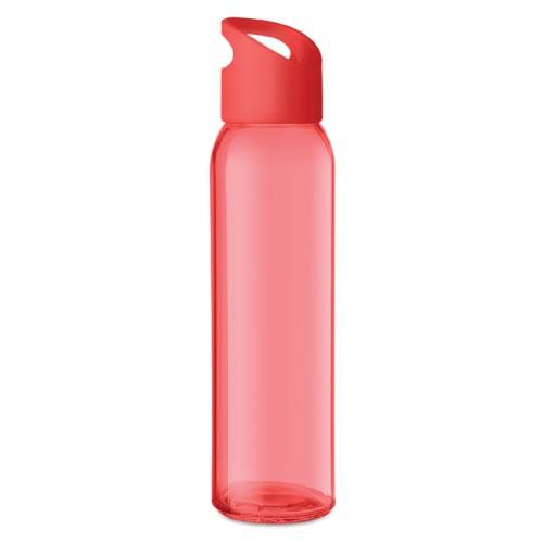 bouteille d'eau personnalisée en verre 470ml rouge
