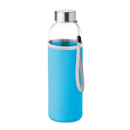 bouteille d'eau personnalisée en verre 500ml avec pochette bleue clair
