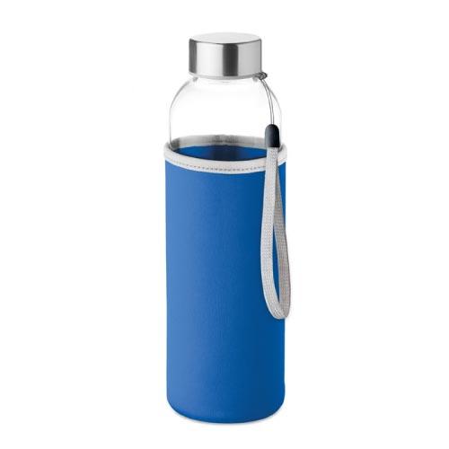bouteille d'eau personnalisée en verre 500ml avec pochette bleue foncé