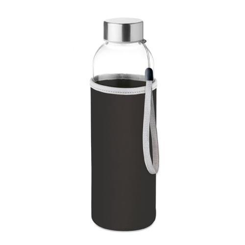 bouteille d'eau personnalisée en verre 500ml avec pochette noire