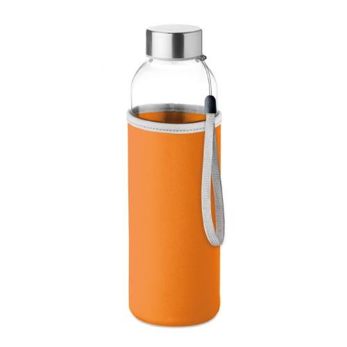 bouteille d'eau personnalisée en verre 500ml avec pochette orange