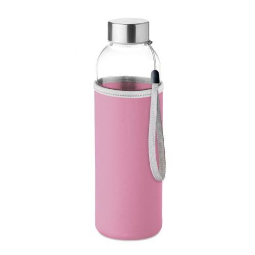 bouteille d'eau personnalisée en verre 500ml avec pochette rose