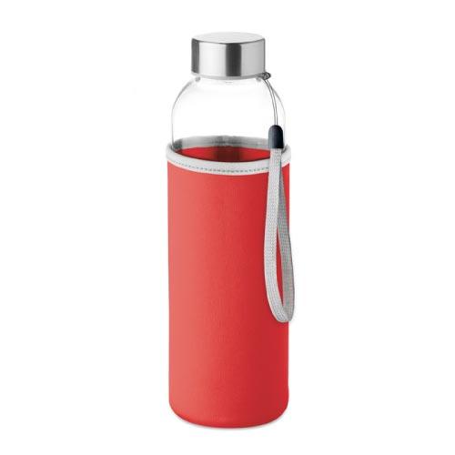 bouteille d'eau personnalisée en verre 500ml avec pochette rouge