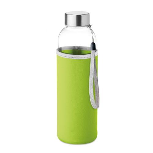 bouteille d'eau personnalisée en verre 500ml avec pochette verte
