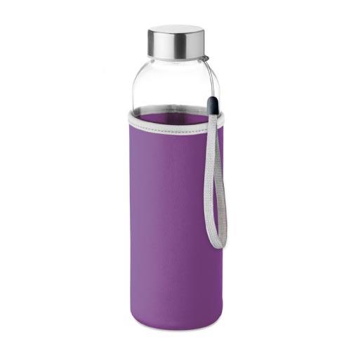 bouteille d'eau personnalisée en verre 500ml avec pochette violette