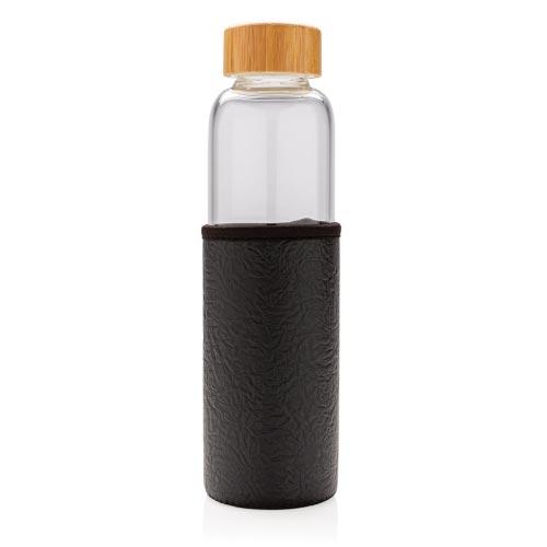 bouteille d'eau personnalisée en verre 550ml avec housse noire