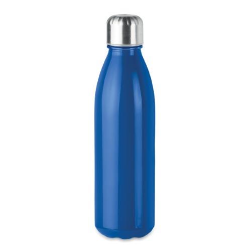 bouteille d'eau personnalisée en verre 650ml bleue avec bouchon inox