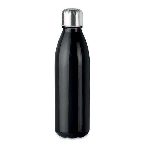 bouteille d'eau personnalisée en verre 650ml noire avec bouchon inox