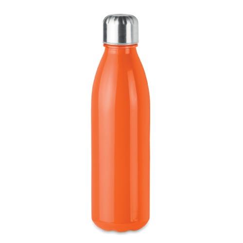 bouteille d'eau personnalisée en verre 650ml orange avec bouchon inox