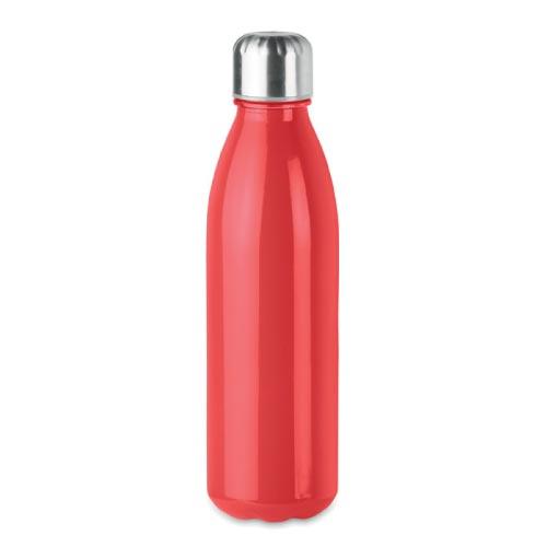 bouteille d'eau personnalisée en verre 650ml rouge avec bouchon inox