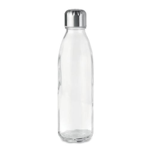 bouteille d'eau personnalisée en verre 650ml transparente avec bouchon inox