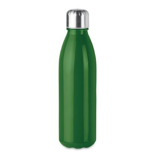 bouteille d'eau personnalisée en verre 650ml verte avec bouchon inox