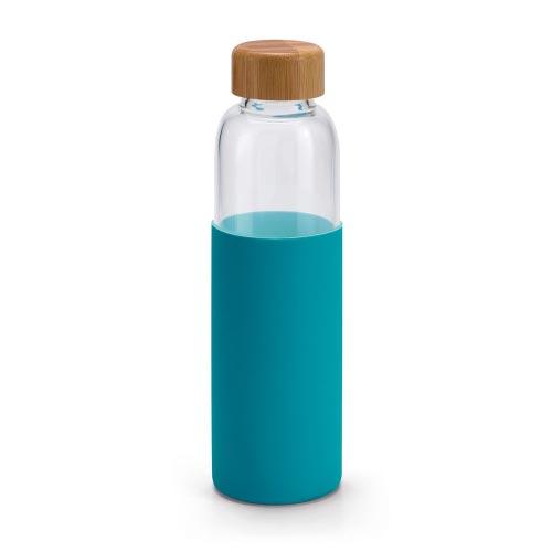 bouteille d'eau personnalisée en verre avec étui en silicone bleu