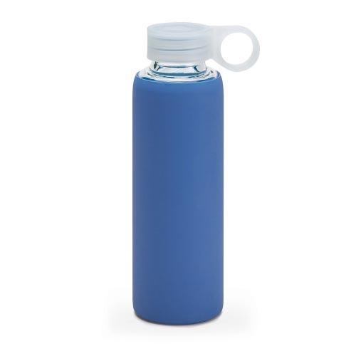 bouteille d'eau personnalisée en verre avec pochette siliconne bleue