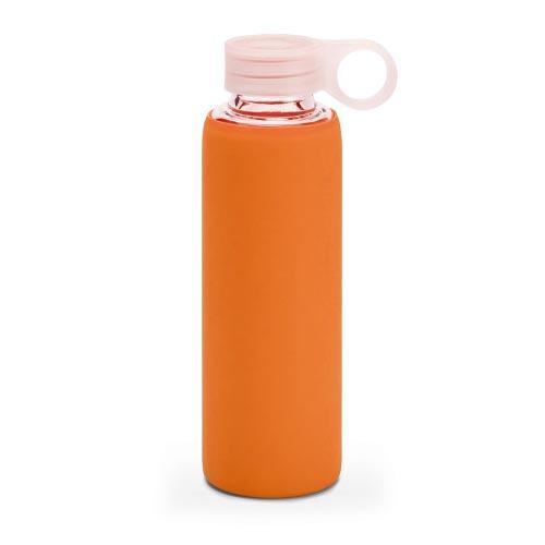 bouteille d'eau personnalisée en verre avec pochette siliconne orange