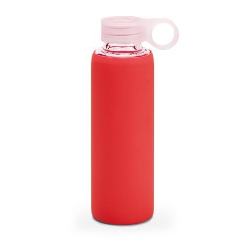 bouteille d'eau personnalisée en verre avec pochette siliconne rouge