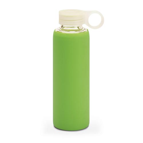 bouteille d'eau personnalisée en verre avec pochette siliconne verte