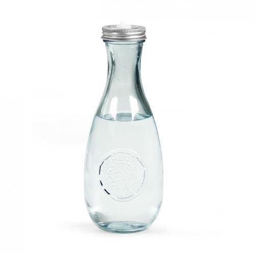 bouteille d'eau personnalisée en verre recyclé avec couvercle