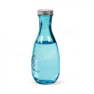 bouteille d'eau personnalisée en verre recyclé bleu avec couvercle