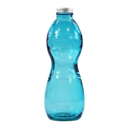 bouteille d'eau personnalisée en verre recyclé bleu
