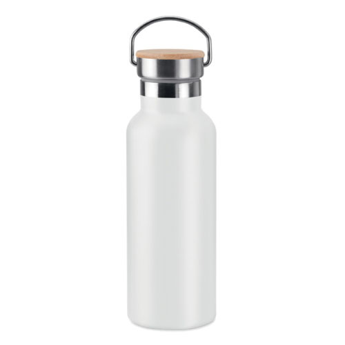 bouteille isotherme personnalisable blanche inox avec poignee