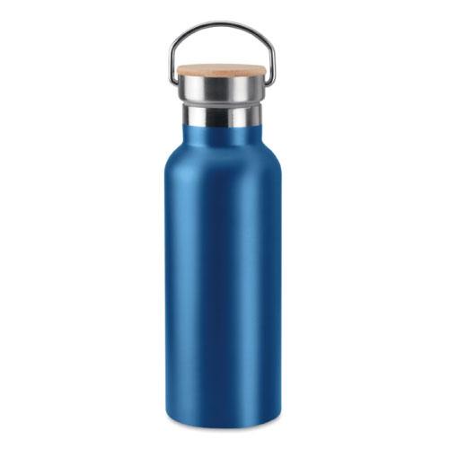 bouteille isotherme personnalisable bleue inox avec poignee