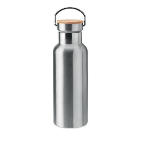 bouteille isotherme personnalisable grise inox avec poignee