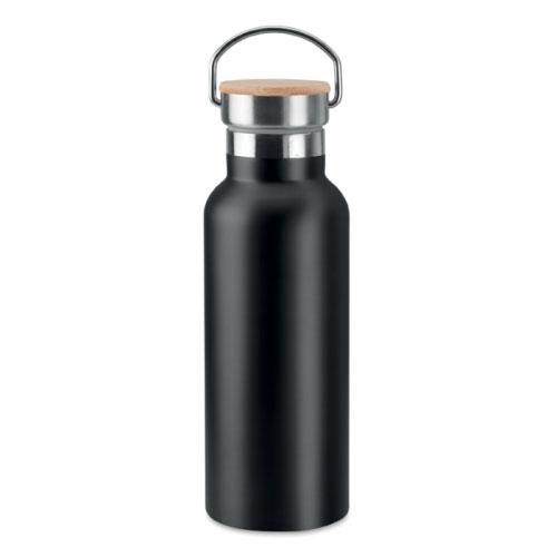 bouteille isotherme personnalisable noire inox avec poignee