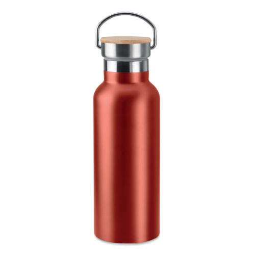bouteille isotherme personnalisable rouge inox avec poignee