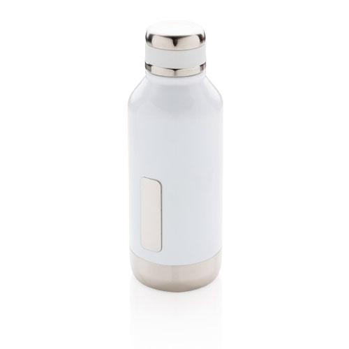 gourde inox personnalisable blanche avec plaque pour logo