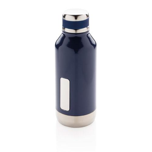 gourde inox personnalisable bleue avec plaque pour logo