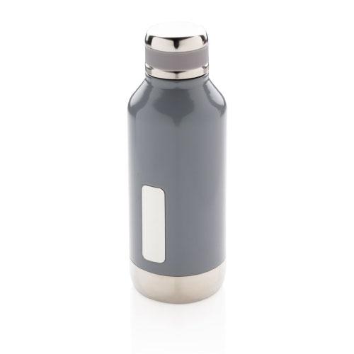 gourde inox personnalisable grise avec plaque pour logo