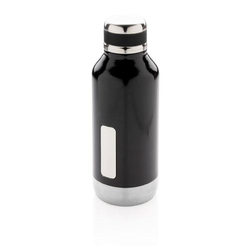 gourde inox personnalisable noire avec plaque pour logo