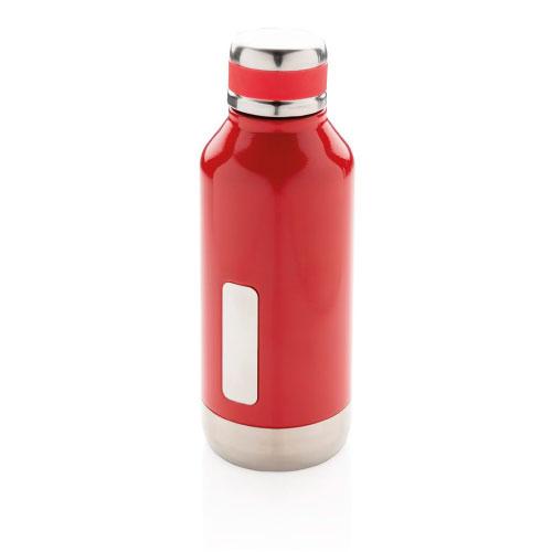 gourde inox personnalisable rouge avec plaque pour logo